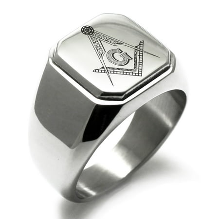 Stainless Steel Freemasons Masonic Floral Compass Engraved Square Flat Top Biker Style Polished Signet Ring