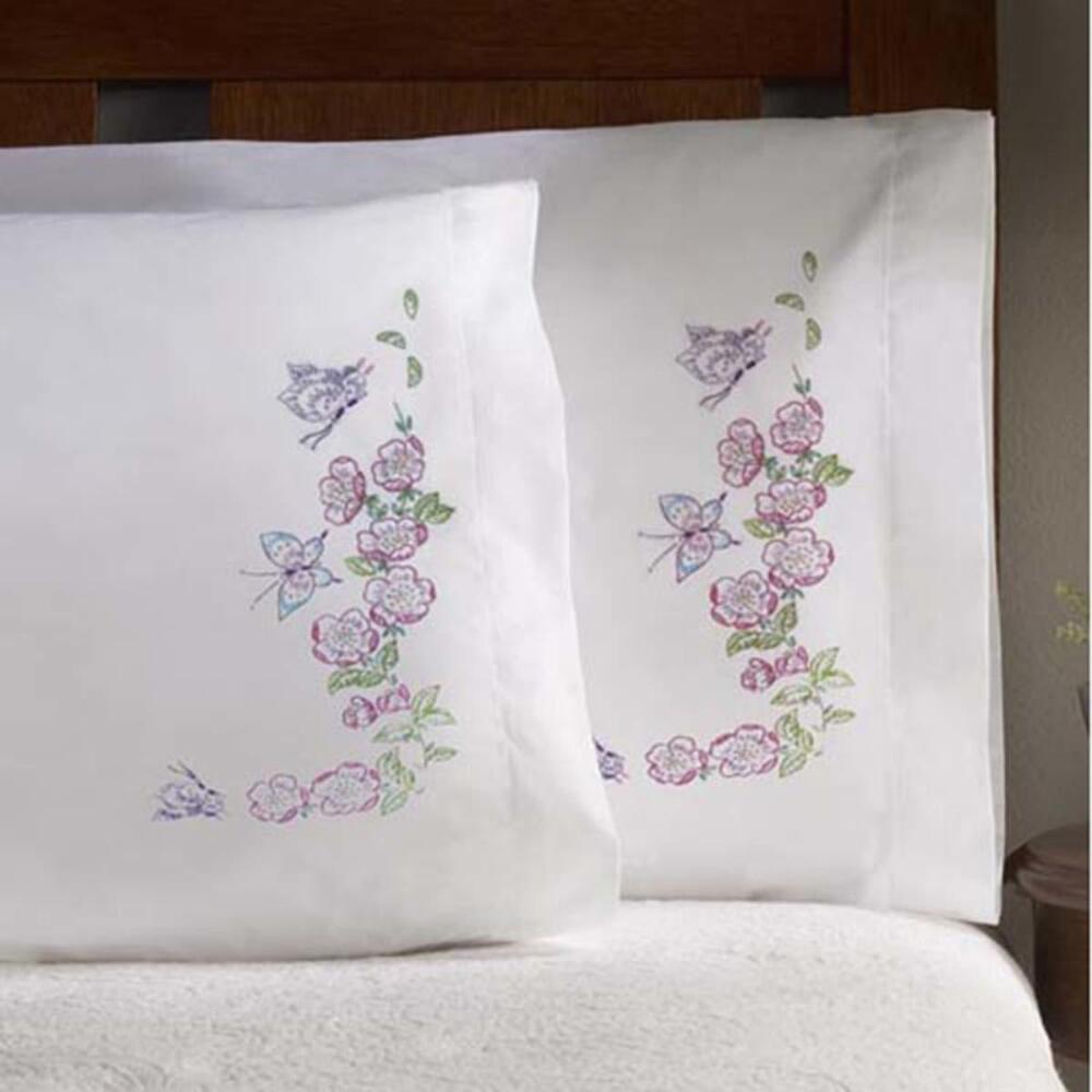 Bucilla Butterfly & Roses Pillowcase Pair Stamped Embroidery