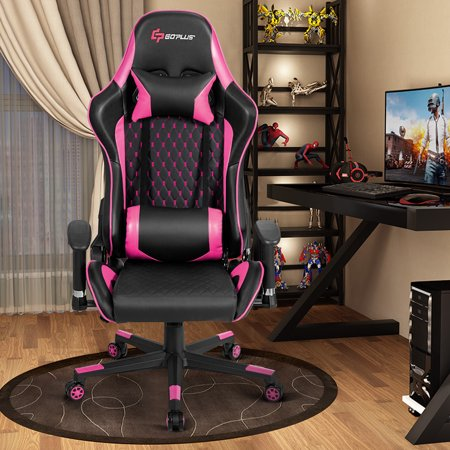Massage Gaming Chair Reclining Racing Chair w/Lumbar Support and Headrest Pink - image 6 of 10