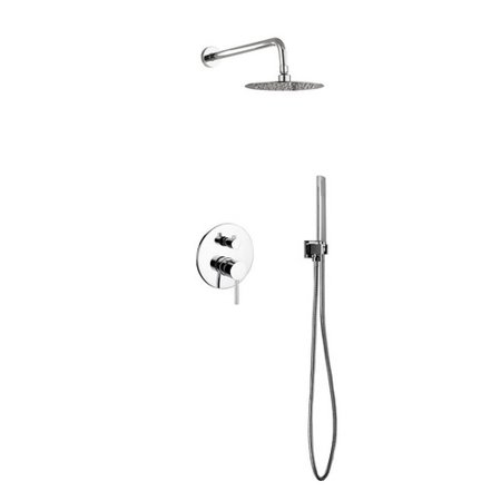 Rebrilliant Bustillos Diverter Complete Shower System with Metal Round Handle - Includes Rough-In Valve