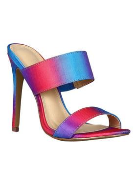 4f6be818f8a Product Image Women Fabric Open Toe Double Band Stiletto Heeled Mules Sandal  Slide 18468. Liliana