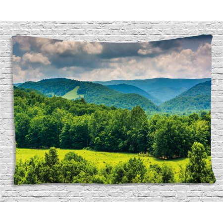 Halloween Virginia Highlands (Landscape Tapestry, View of Mountains in Potomac Highlands of West Virginia Rural Scenery Picture, Wall Hanging for Bedroom Living Room Dorm Decor, 60W X 40L Inches, Forest Green, by)