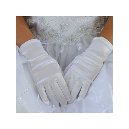 Angels Garment Girls White Soft Short Communion Flower Girl Gloves