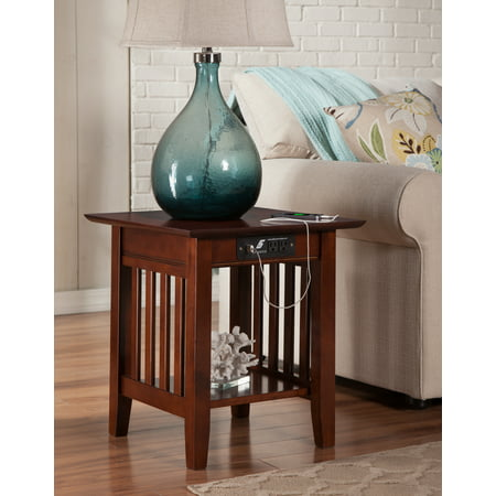 Mission End Table with Charging Station in Walnut or Caramel