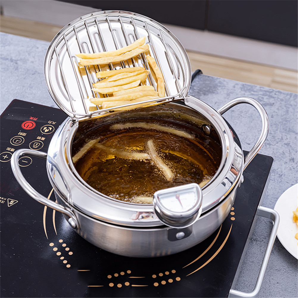 Tempura Deep Fryer Japanese-Style Frying Pan with Thermometer Fried Chicken Non-Stick Cooking Tools,Lid and Oil Drip Drainer Rack Stainless Steel Easy Pour Coating for Kitchen Cooking 20cm//304