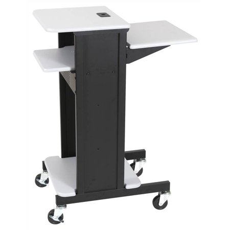 Presentation Cart w Black Metal Frame and Locking Equipment Storage