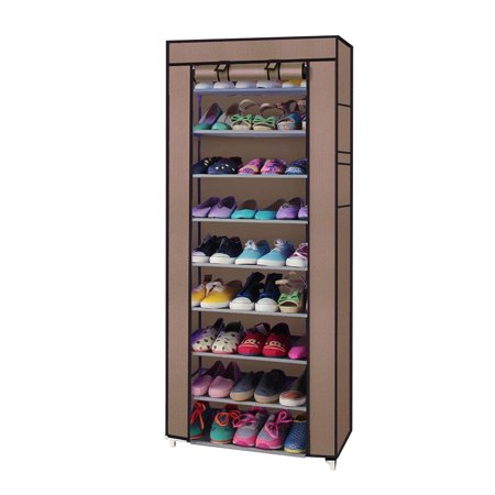 Zimtown 10 Tier Shoe Closet Organizer Cover Rack Storage Shelf Cabinet Space Saving 10 Space Combo Rack Case