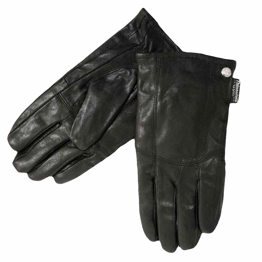 Mens Soft Black Leather 3M Thinsulate Winter Gloves by