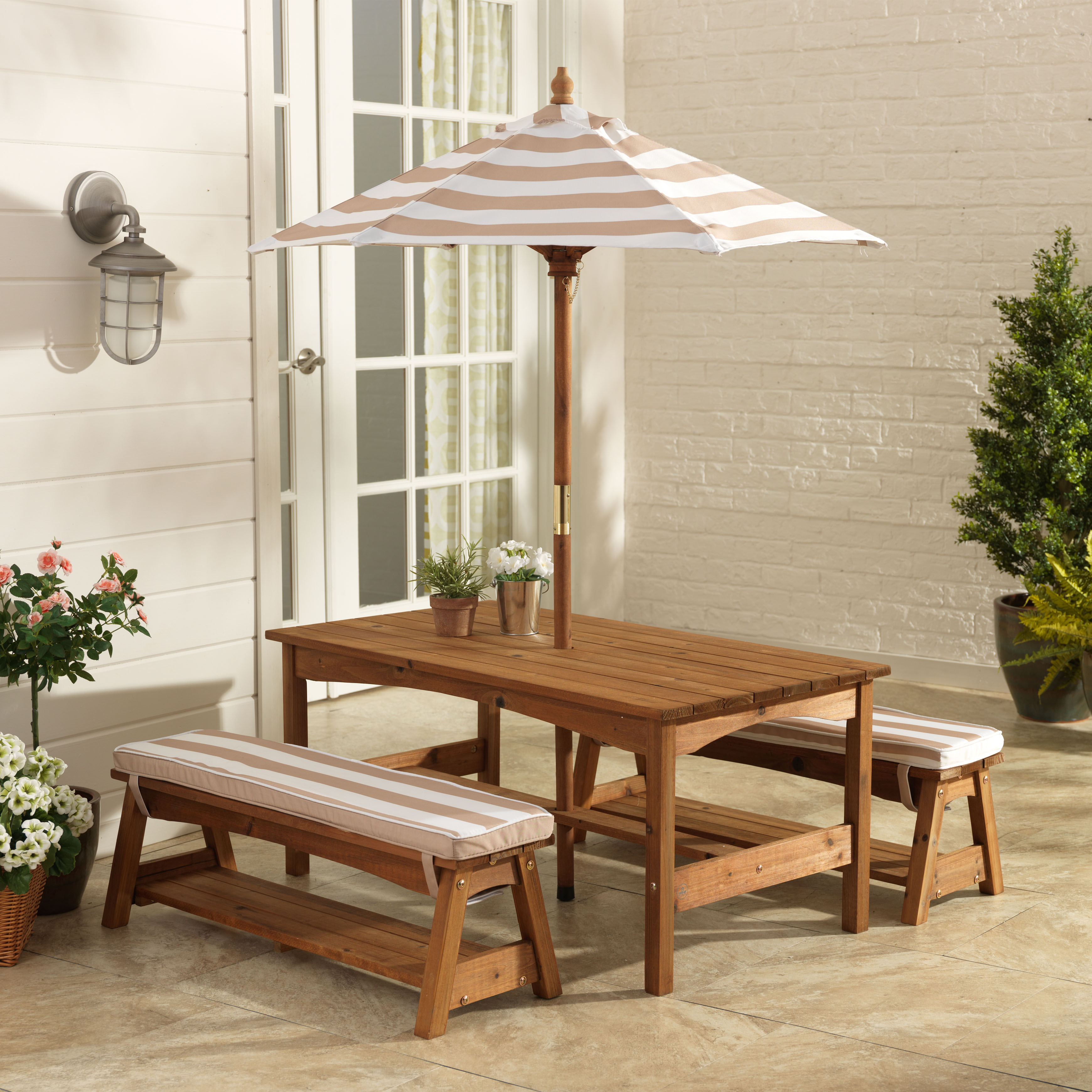 KidKraft Outdoor Table & Bench Set with Cushions & Umbrella Oatmeal & White Stripes by KidKraft