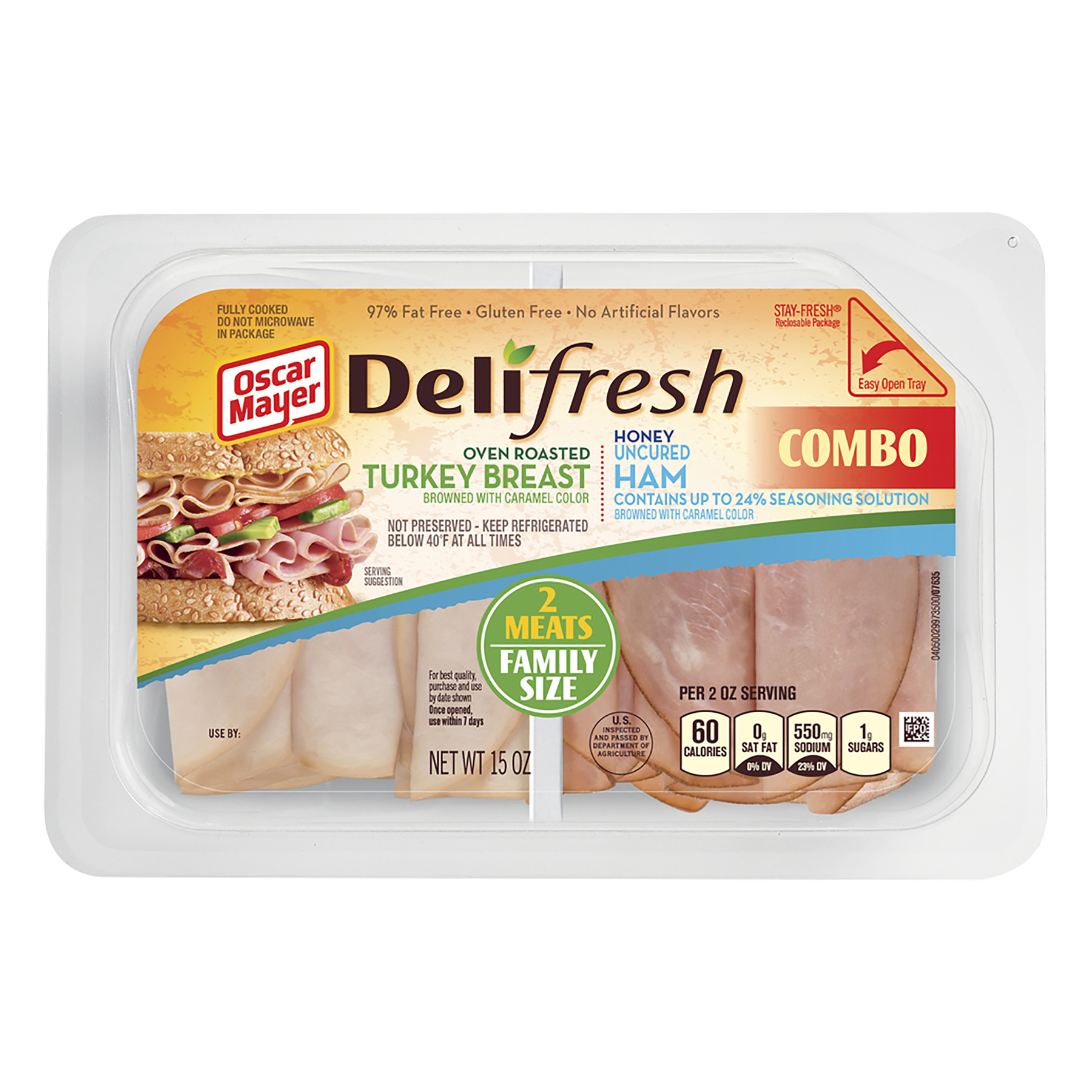 Oscar Mayer Deli Fresh Oven Roasted Turkey Breast Honey Uncured Ham Combo Family Size, 15 oz