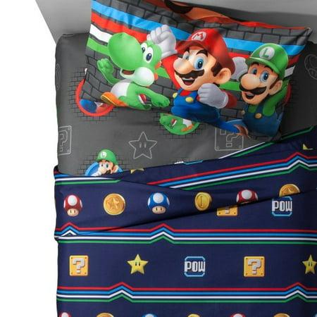 Maria Sheet Set (Nintendo Mario Twin Comforter and Sheet Set with Throw )