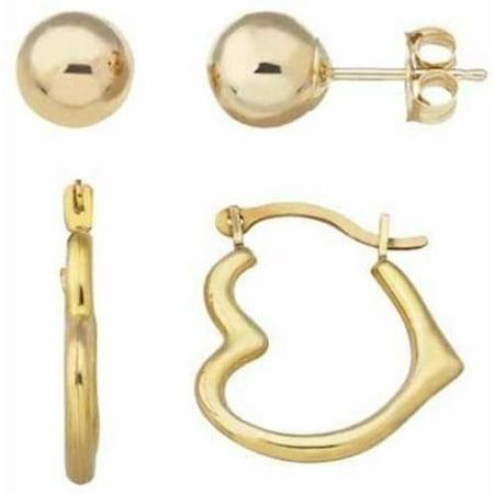 10kt Yellow Gold 6mm Ball Stud And Heart Shape Hoop Earrings Set