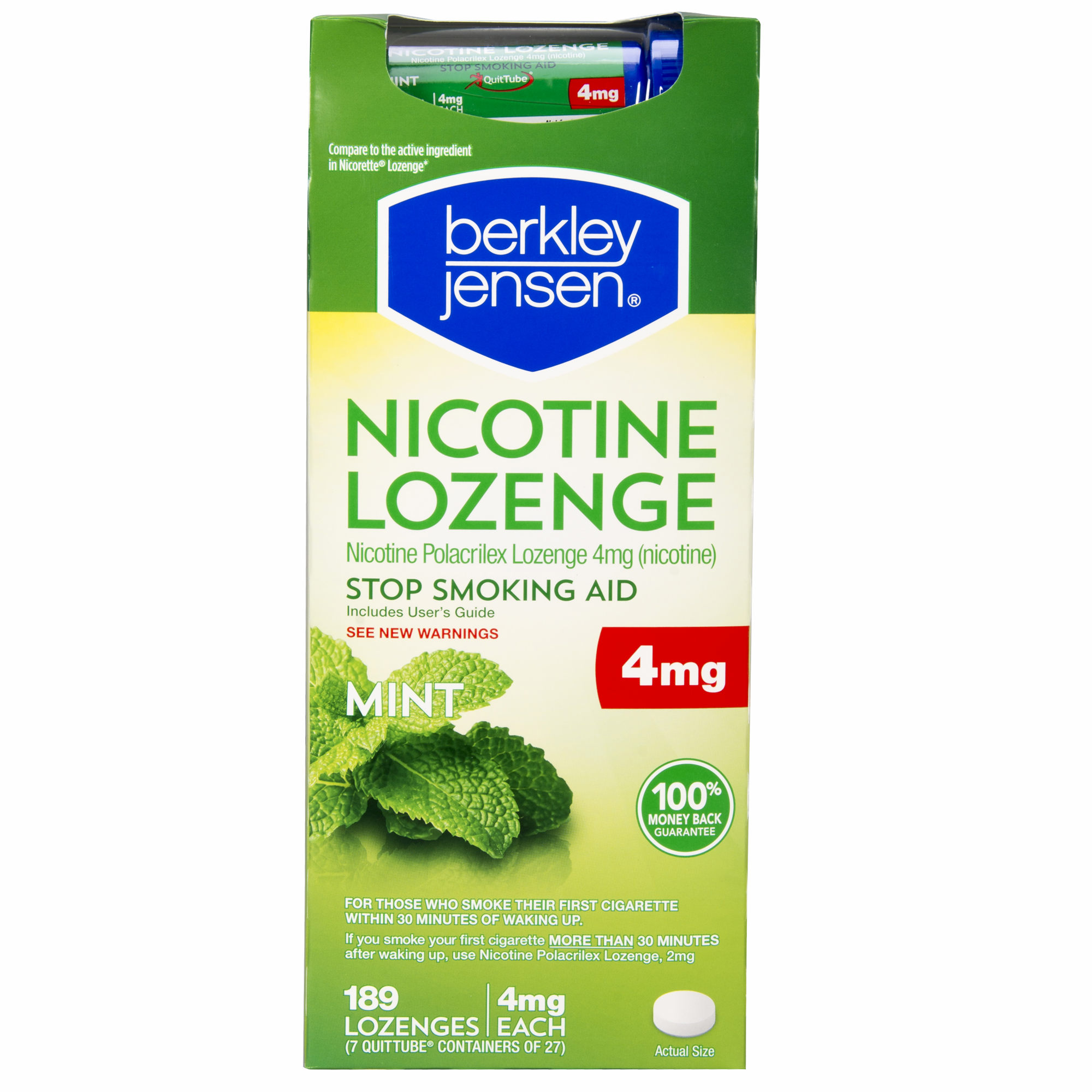 Product of Berkley Jensen Mint Nicotine Lozenge 189 ct./4mg - Stop Smoking [Bulk Savings]