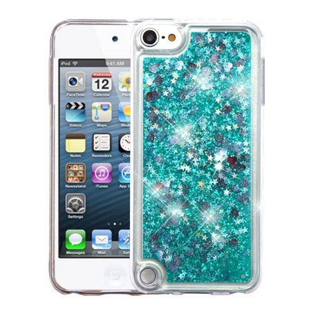Insten Quicksand Glitter Hard Plastic/Soft TPU Rubber Case Cover For Apple iPod Touch 5th Gen/6th Gen, Green (i pod 5 camo cases for girls)