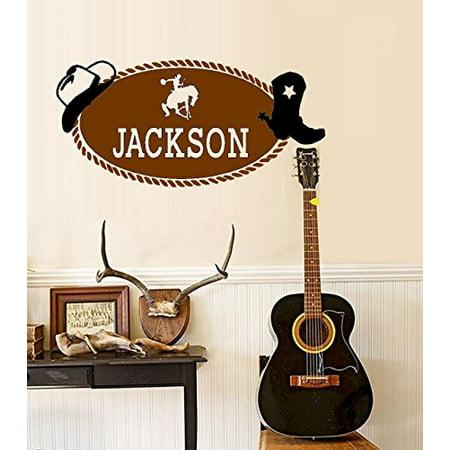 "Cowboy ~ Western ~ Monogram (Custom Name) Wall or Window Decal LRG (Black / Brown) 20""x 40"""
