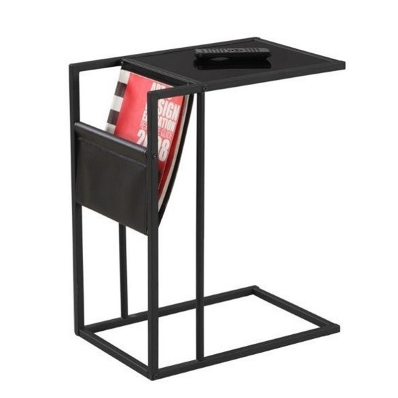 Atlin Designs Metal End Table with Magazine Rack in Black by Atlin Designs