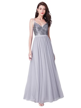 Ever-Pretty Women's Elegant Sequin V Neck Long Evening Prom Party Homecoming Dresses for Women 73922 Silver US4