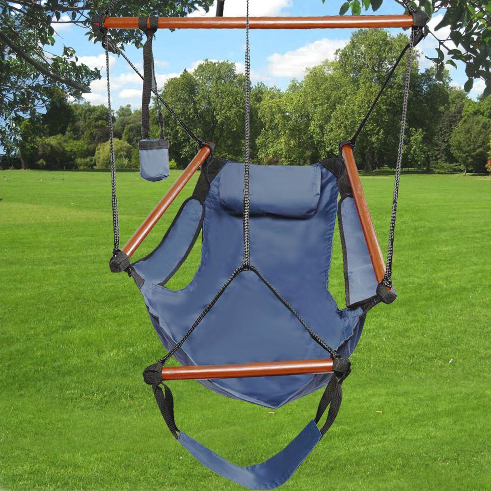 Zimtown Hanging Hammock Air Chair with Pillow and Drink Holder, Solid Wood Bars, 24 Inch Wide Seat, Max Weight: 250 Pounds
