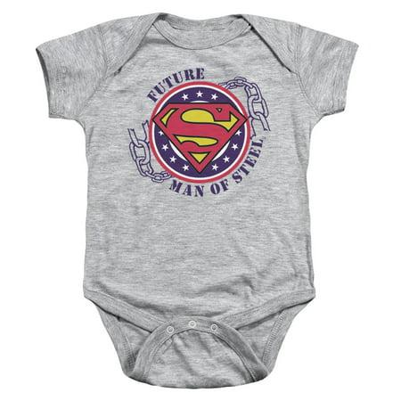 Trevco SUPERMAN FUTURE MAN OF STEEL Athletic Heather Infant Unisex (Athletic Onesie)