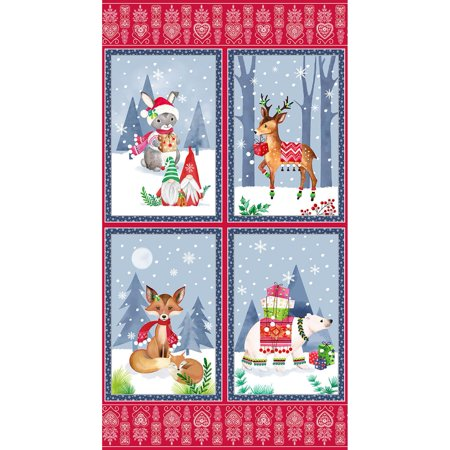 Blank Quilting Fabrics Nordic Forest Jo Taylor Woodland Animal Panel Taylor Curtain Panel