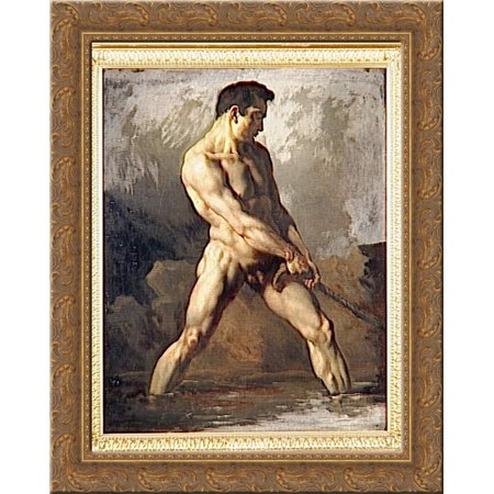FrameToWall - Study of a Male Nude 24x20 Gold Ornate Wood Framed Canvas Art by Theodore (Nude Canvas Art)