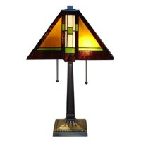 Serena d'italia Tiffany 2 light Mission 23 in. Bronze Table Lamp