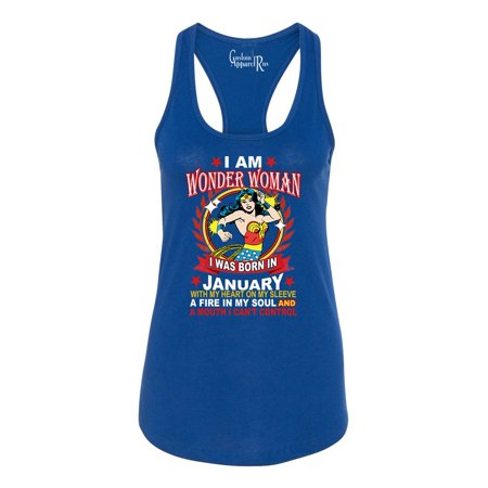Wonder Woman Born In January Superhero Womans Racerback Tank Top - Superhero Tank Tops