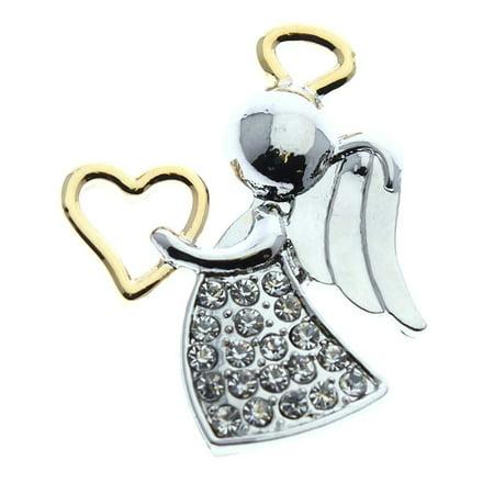 Appreciation Heart Angel Pin Silver Gold Rhinestone Decoration
