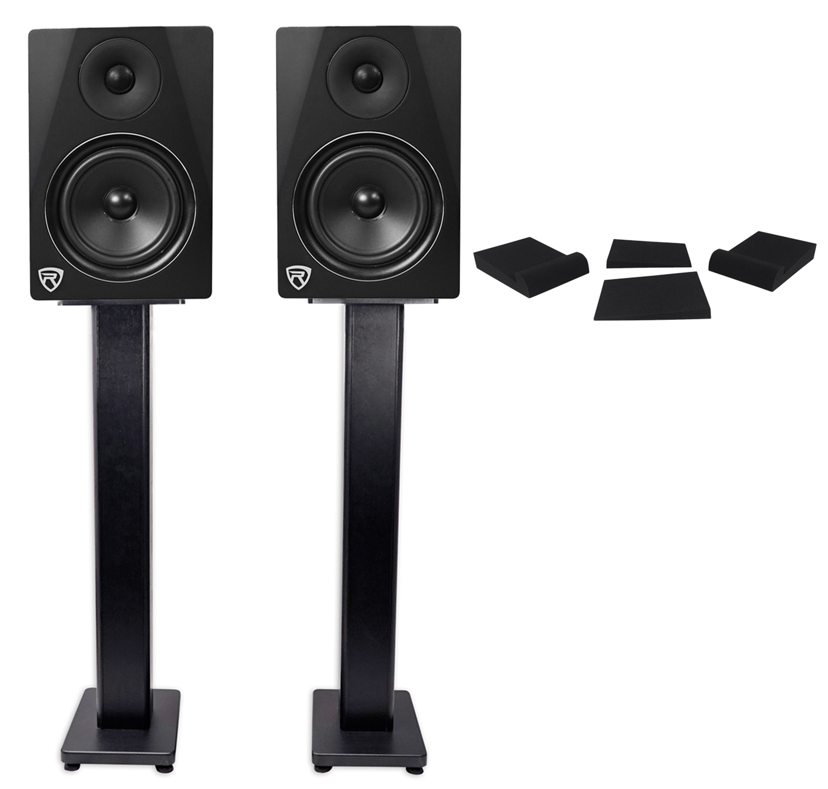 "2) Rockville DPM6B Dual Powered 6.5"" 420 Watt Active Studio Monitors+Stands+Pads by ROCKVILLE"