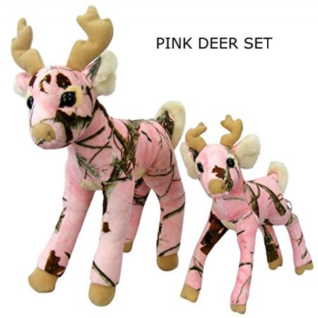 Pink Camo Realtree Deer Set 14 Inch & 10 Inch Animal Camouflage Stuffed Animal Soft Plush Dad Daughter Mom Gift (Father's Day Stuff)