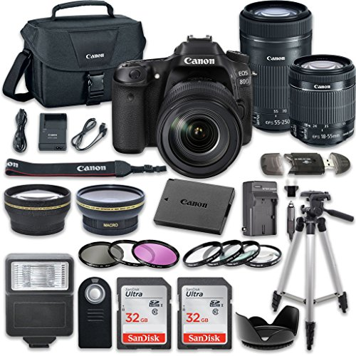 Canon EOS 80D Wi-Fi Full HD 1080P Digital SLR Camera with Canon EF-S 18-55mm f/3.5-5.6 IS STM Lens + Canon EF-S 55-250mm f/4-5.6 IS STM Lens + 2pc SanDisk 32GB Memory Cards + Accessory Kit