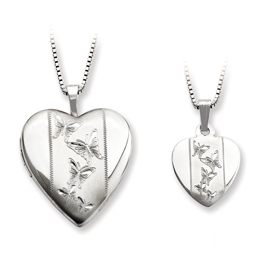 Roy Rose Jewelry Sterling Silver Polished Satin Butterfly Heart Locket Mom Daughter Pendant Set