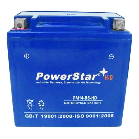 PowerStar PM14-BS-HD-022 Heavy Duty New Replacement Battery for 07 Early Ducati 1098 - 3 Years