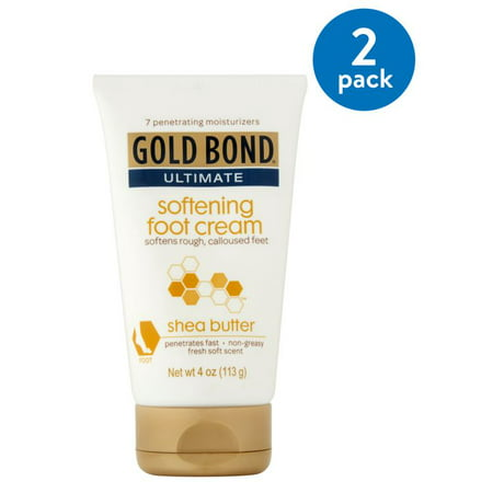 Body Foot Cream ((2 Pack) Gold Bond Ultimate Softening Foot Cream with Shea Butter, 4)
