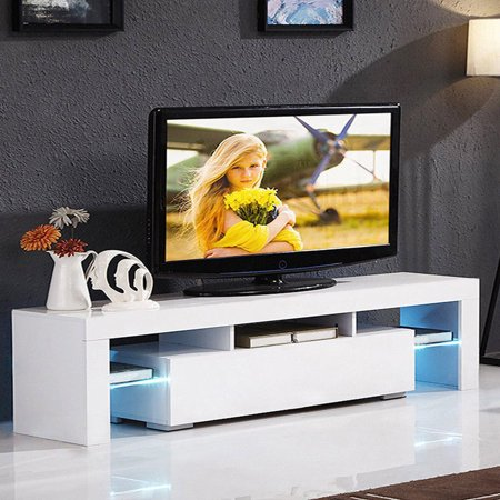 Zimtown Modern TV Stand High Gloss Media Console Cabinet Entertainment Center with LED Shelf and Drawers,White ()