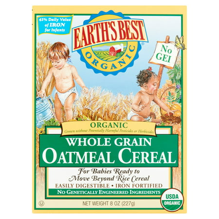 Earth's Best Organic Whole Grain Oatmeal Cereal, 8 oz, 12