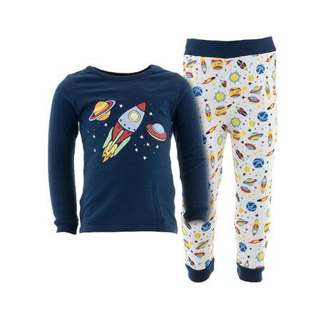 Sweet & Soft Little Boys Navy Rocket Cotton Pajamas
