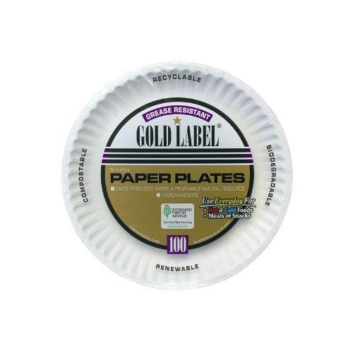Coated Paper Plates, 9 Inches, White, Round, 100/pack AJMCP9GOAWH