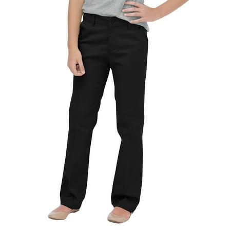 Genuine Dickies Girls School Uniform Flex Slim Fit Straight Leg Flat Front Pants (Big Girls) (Uniform Dickie)
