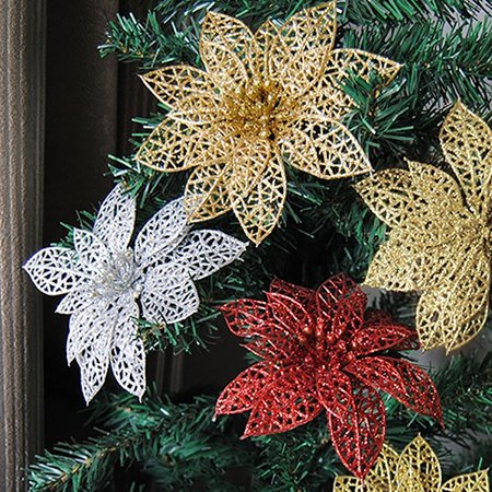 micelec 10pcs glitter hollow wedding party christmas flowers xmas tree decorations