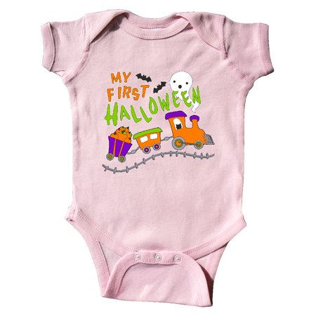 My First Halloween- train with pumpkins, bats, cat,and ghost Infant Creeper](Halloween Games Ghost Train)