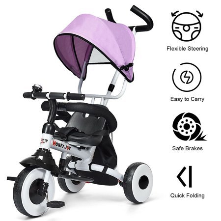 Gymax 4-In-1 Kids Baby Stroller Tricycle Detachable Learning Toy Bike - image 8 de 10
