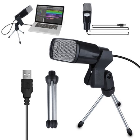 USB Microphone, EEEkit Condenser Mic for Computer, PC, Podcasting, Vlog, YouTube, Studio Recording, Skype, Stream, Voice Over, Vocal Dictation with Desktop Tripod Stand & 6ft Audio