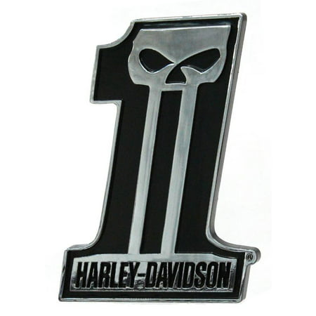 Harley-Davidson #1 Skull Dark Custom Chrome Injection Molded Emblem - Shell Emblem