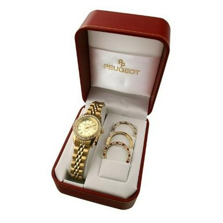 Women's Goldtone Interchangeable Bezel Watch - Bezel Set Cross
