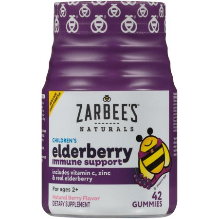 Zarbee's Naturals Children's Elderberry Immune Support* Gummies, With Vitamin C, Zinc and Real Elderberry, Natural Berry Flavor, 42 Gummies (1