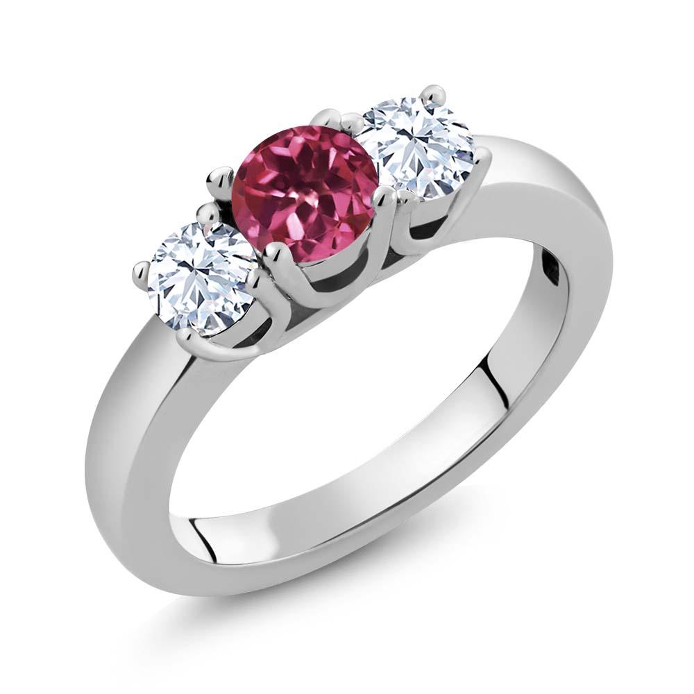1.16 Ct Round Pink Tourmaline AA White Topaz 14K White Gold Ring by