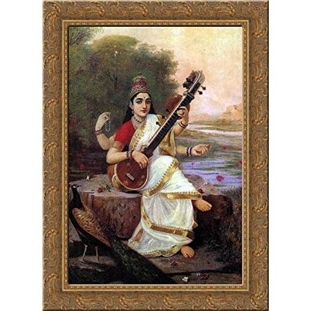 Painting of the Goddess Saraswati 20x24 Gold Ornate Wood Framed Canvas Art by Ravi Varma, Raja ()