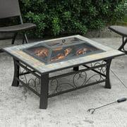 Axxonn Granada Rectangular Slate-Top Fire Pit