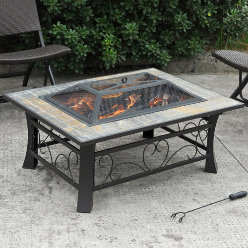 Axxonn Granada Rectangular Slate-Top Fire Pit